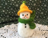 Chubby Little Snowman For Winter Fun Decor Needle Felt Wool Figure