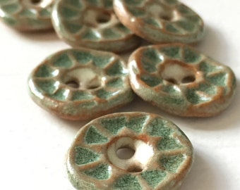 spearmint green handmade stoneware ceramic buttons