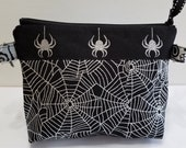 Can-Am Spyder zipper pouch in metalic black and silver fabric and silver glitter spiders