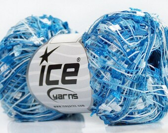 Blues White Mini Butterfly #41750 Ice Tiny Flag Ribbon Yarn 50gr 164 Yards Perfect for Fiber Necklaces, Shawls, Scarves & More