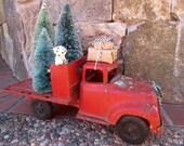 Vintage Red Truck Bottle Brush Christmas Tree Decoration, Wreath, Dog