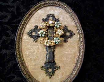 Vintage French Picture Frame, Cross, Vintage Jewelry Assemblage