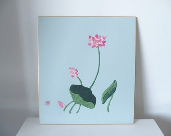Blue Picture With Pink Flower Motif Japanese Paper Art International Shipping