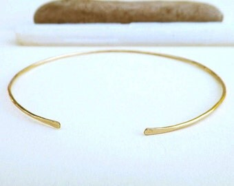 Thin gold cuff, simple rustic gold bracelet, skinny delicate gold wire bracelet, thin gold cuff, choice of sterling silver, gold, rose gold