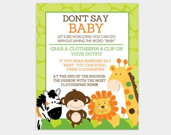 Donu0027t Say Baby Printable Jungle Baby Shower Game INSTANT DOWNLOAD Bs 015