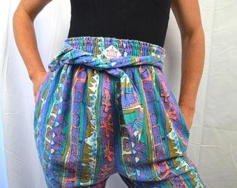 RARE Vintage 80s Ocean Pacific Rainbow Hammer Time Harem Baggy Pants