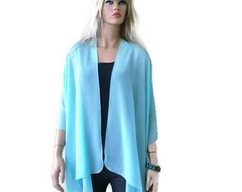 Summer Aqua Boho Kimono/ Kimono cardigan-Solid Aqua,Lagenlook chiffon kimono- Great for weddings and bridesmaids