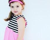 NEW SPRING 2017 - - - Black and White Stripe Color Block Dress, girls dress, toddler dress