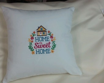 Embroidered HOME SWEET HOME  pillow