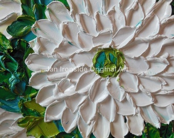 Flower Painting Oil  White floral, Home Decor