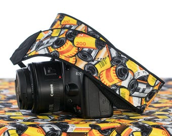 dSLR Camera Strap, 35mm Film, Yellow, Orange, Red, Black, SLR, Canon, Nikon, Camera Accessories, 006
