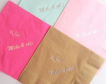 Custom wedding napkins with rings - set of 25