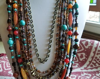 Colorful Statement Piece Beaded Necklace, Boho Multi Strand Turquoise Necklace, Unique rustic multi colored necklace, Jewelry Trend 2017