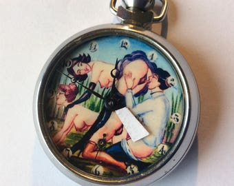 Vintage The Threesome Erotic dial automaton pocket watch