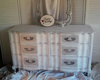 DresserFrench Provincial Serpentine Low Boy Style Dresser Poppy Cottage Custom PAINT to ORDER Vintage Painted Furniture