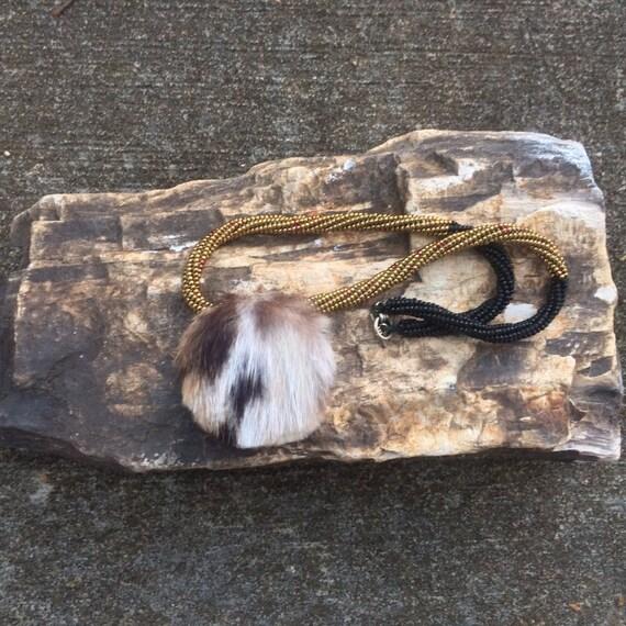 17 Inch Beaded Choker With Bobcat Fur Cameo