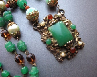 Statement Assemblage Necklace Repurposed Art Nouveau Jewelry Vintage Jewelry Green Glass