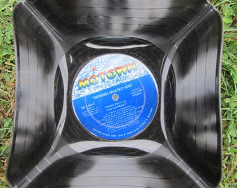 "The Supremes Genuine Vintage 33rpm Upcycled LP Record Bowl featuring  ""Greatest Hits"" on Motown"