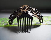 Vintage 1850s antique Civil War gutta percha hinged hair comb mourning