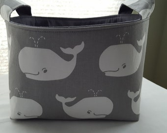 Fabric Organizer Basket Storage Bin Container - Gray and White Whales - Choose your Lining Color
