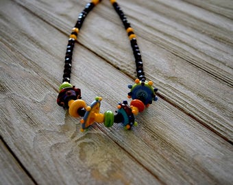 Beautiful Lamp Work Beads Necklace