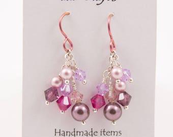 Dangle Cluster Earrings, Pink Rose, Crystal and Pearl, Rambling Rose
