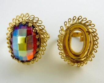 Ornate Ring Blanks 2 pcs Size 7  Ring Vintage Gold Filagree Casting R-1
