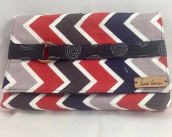 Red, Blue, Brown, Grey Chevron Clutch Bag / Clutch Purse