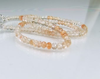 Sunstone Micro Faceted Rondelles AAA Sunstone Beads  3.5-4mm