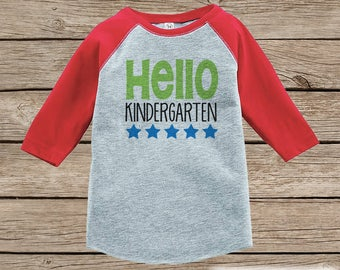 Back to School Shirt - Hello Kindergarten Shirt - Boys Back To School Outfit Red Raglan - First Day of Kindergarten Tshirt - Back to School