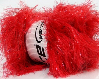 ICE YARNS Faux Fur Glitz Tomato Red 1 skein 100gr lurex polyester  novelty fancy bulky shimmering  knitting crochhet supplies 36765