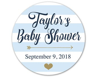 Personalized Baby Shower Stickers - Baby Shower Labels - Custom Favor Stickers - Striped Labels - Favor Stickers - Shower Labels