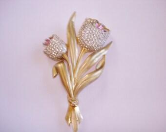 Signed Coro Pink Clear Rhinestone Flower Brooch Gold Tone