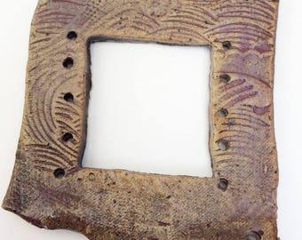Pottery for Weaving Window rectangular loom style, Burgundy, Wine