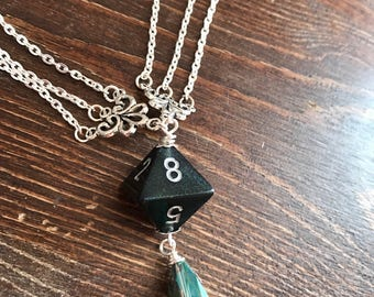 dungeons and dragons pendant dice pendant D8 black pendant dice jewelry dice necklace black dice geek borealis chessex dice polyhedral