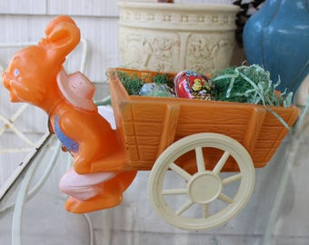 Easter Rabbit pulling Cart Plastic with 3 Metal Eggs Candy Container VINTAGE by Plantdreaming