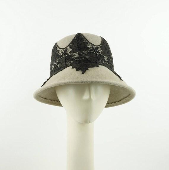 Gray Derby Hat for Women, Winter Hat, Womens Hat, Cloche Hat, Felt Hat, Ladies Hat, Brim  Dress Hat, Mother of the Bride Hat, Millinery Hat