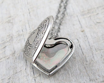 Wedding Locket Silver Heart Locket Silver Locket Necklace Photo Locket Picture Locket Anniversary Gift Locket Gift
