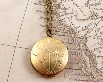 Globe Locket Necklace, Map Necklace, World Map, Atlas, Travel Jewelry, Bon Voyage Gift, World Traveler