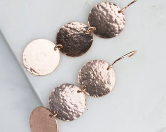 Hammered Rose Gold Circle Earrings, Fun Long Dangle Earrings Rose Gold, Mother's Day Ideas Gifts, Rose Gold Bridal Earrings Disk Wedding