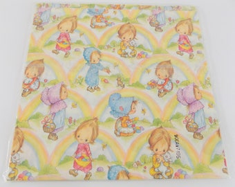 Easter gift wrap etsy vintage precious moments easter gift wrap wrapping paper rainbows craft supplies 2 sheets negle