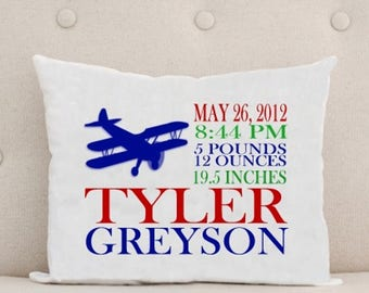 Personalized baby pillow etsy ca unique baby gift birth announcement personalized baby pillow airplane negle Choice Image