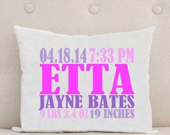 Baby Pillow - Personalized Pillow - Birth Statistics - Birth Announcement - Nursery Decor - Unique Baby Gift - Pink Purple