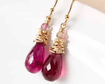 Gold Pink Tourmaline and Watermelon Tourmaline Earrings - Tourmaline Teardrops - Holiday Glamour