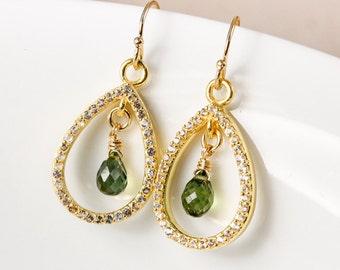 Gold Pave White topaz Green Tourmaline Teardrop Earrings, Natural Tourmaline, Green Earrings
