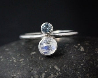Rainbow Moonstone & Birthstone Ring, Moonstone Ring, Choose Your Birthstone and Setting, Personalized Birthstone Ring