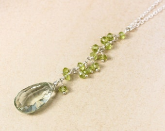Green Amethyst and Green Peridot Necklace - Silver or Gold - Long Pendant, Layering Necklace