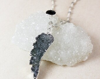 50 OFF SALE Black Onyx and Druzy Angel Wing Necklace – Choose Your Druzy – Blue Labradorite Chain