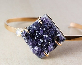 CHRISTMAS SALE Purple Agate Druzy Bangle – Moonstone – 925 Sterling Silver w/ Rose Gold Plating