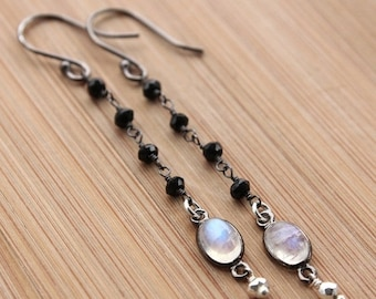 CHRISTMAS SALE Black Spinel, Rainbow Moonstone and Silver Pyrite Earrings